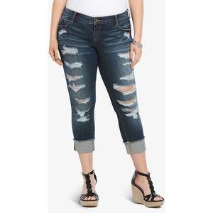Torrid Darkwash Distressed Boyfriend Jeans